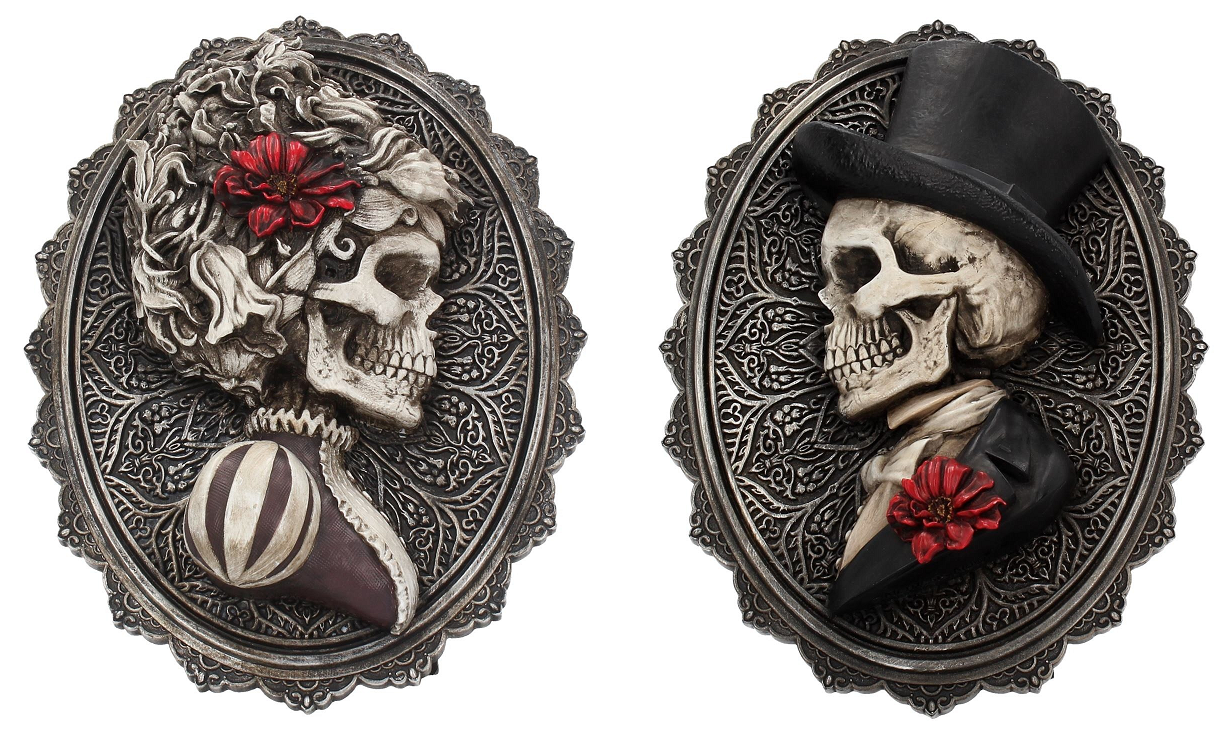'Handsome' & 'Beautiful' Edwardian Skeleton Plaques (Set of 2)