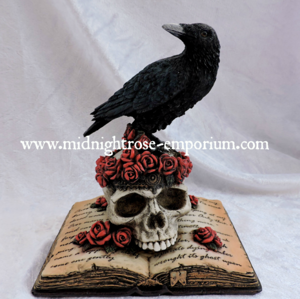 'Heartache's Reflection' Raven & Skull Figurine 17cm
