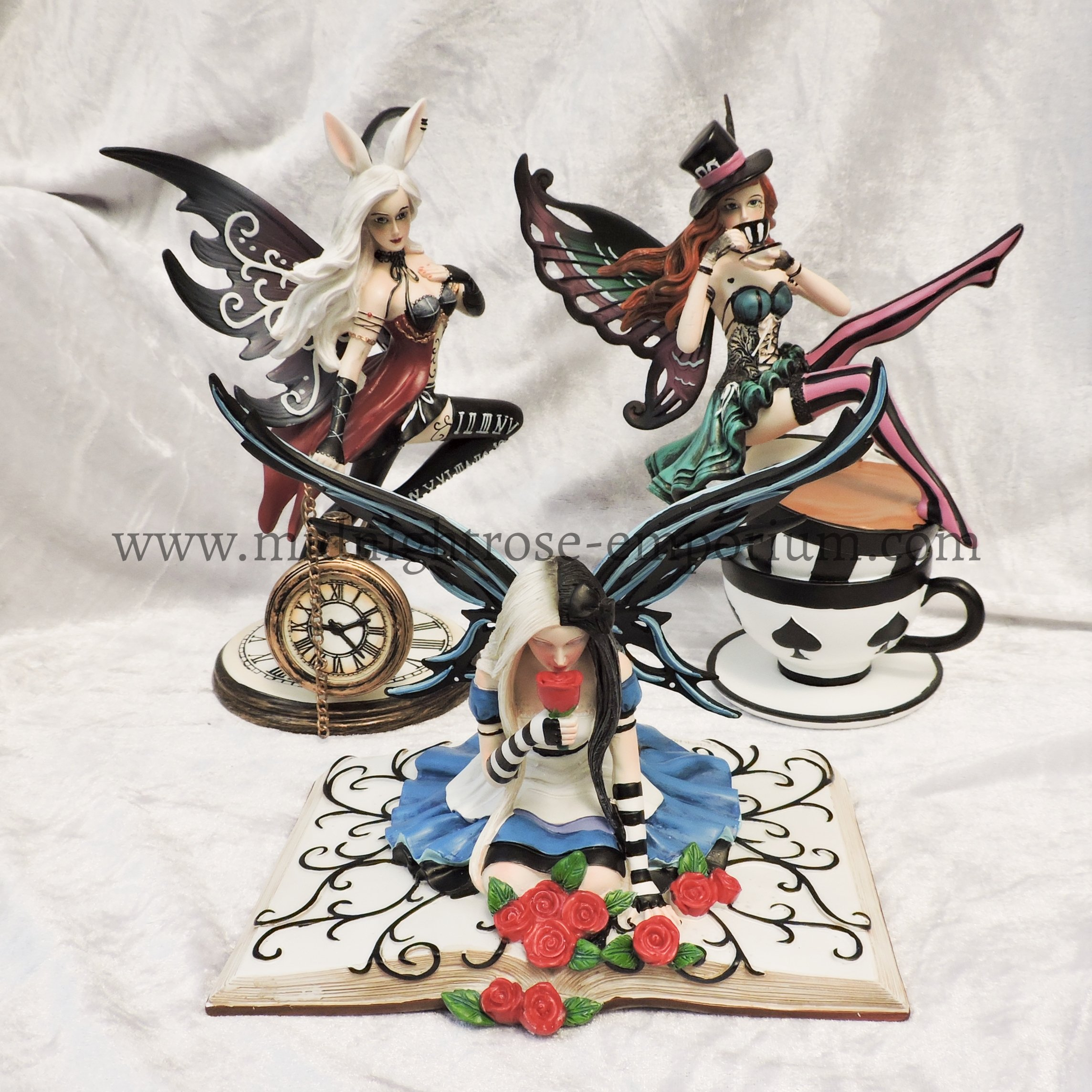Alice in Wonderland Inspired Fairy Ornaments - Full set of 3