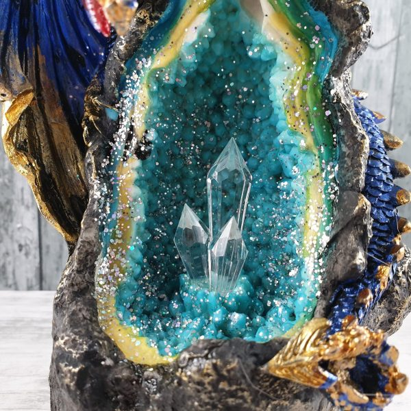 Azure Geode Dragon Cave LED Backflow Incense Burner