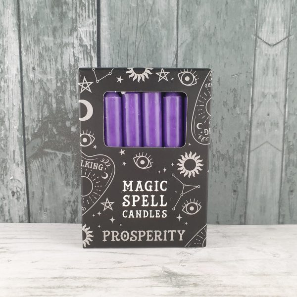 Pack of 12 Purple 'Prosperity' Spell Candles