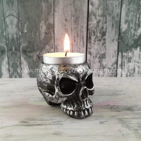 Alchemy Gothic Skull Tea Light Candle Holder