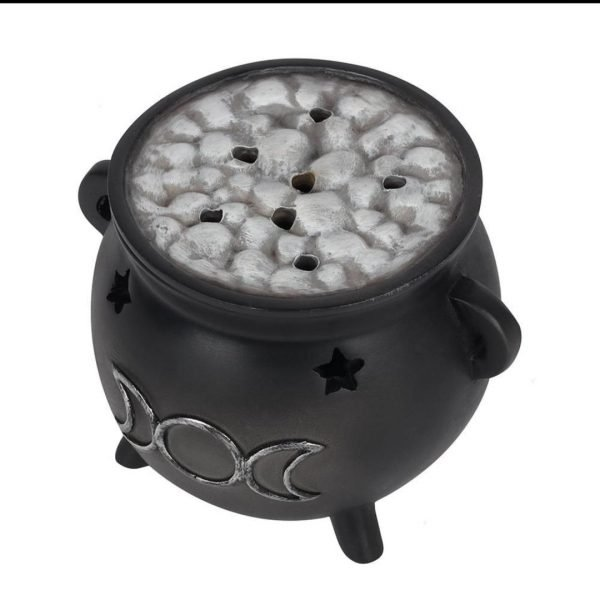 Triple Moon Cauldron Incense Cone Holder