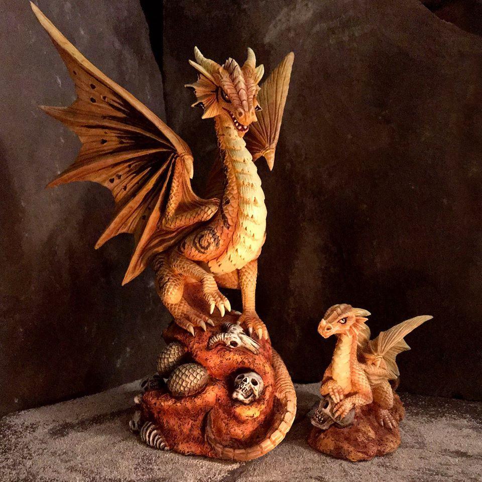 Anne Stokes Adult & Baby Desert Dragon Ornaments