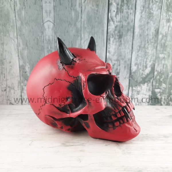 Crimson Demon Skull Ornament