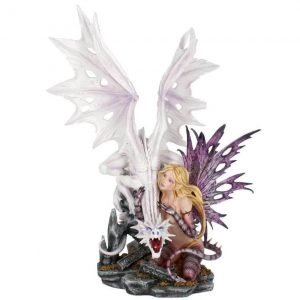 'Aarya Dragon Guardian' Premium XL Fairy & Dragon Figurine 59cm