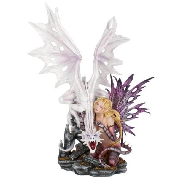 'Aarya Dragon Guardian' Premium XL Fairy & Dragon Figurine 59cm