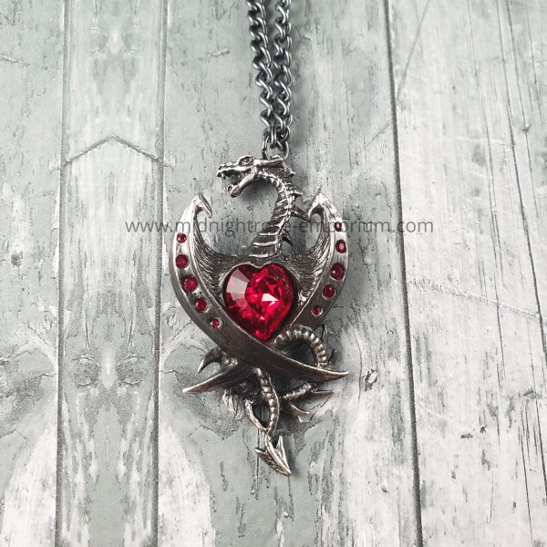 Diamond Heart Dragon Necklace