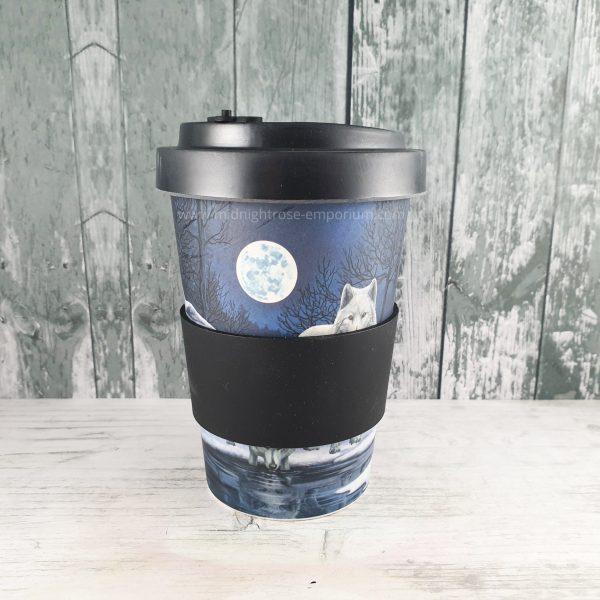 Warriors of Winter White Wolf Eco Friendly Travel Mug w/ Heatproof Wrap