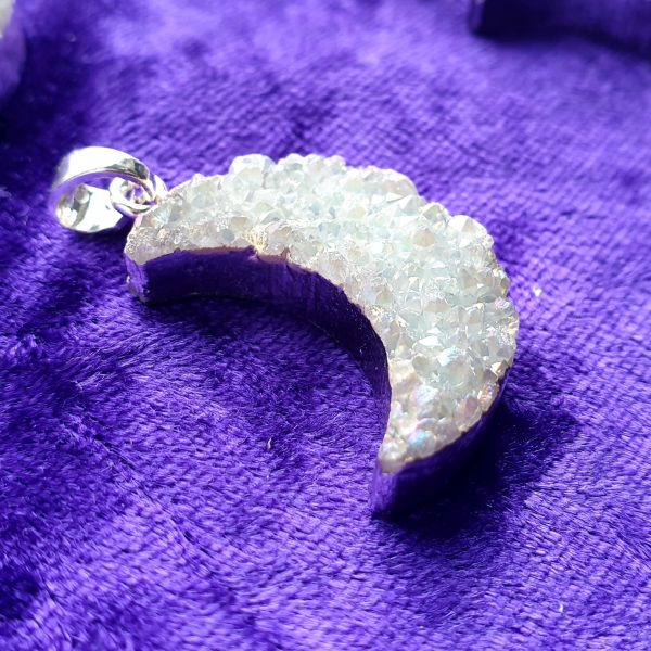 Crescent Moon Druzy Crystal Necklace
