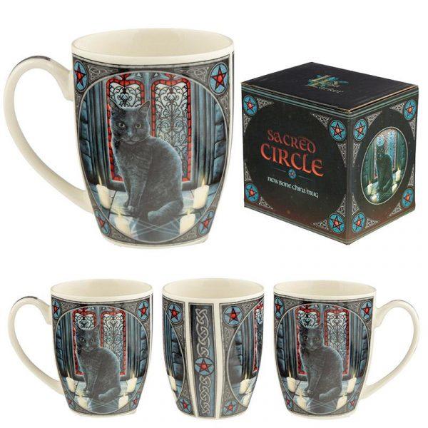 'Sacred Circle' Black Cat Mug