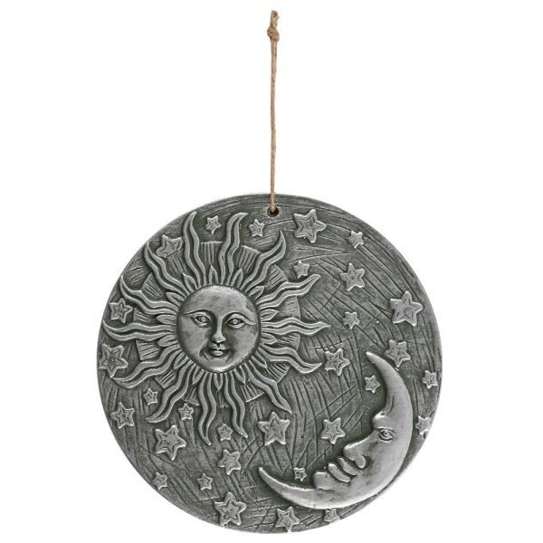 Silver Effect Terracotta Sun & Moon Plaque