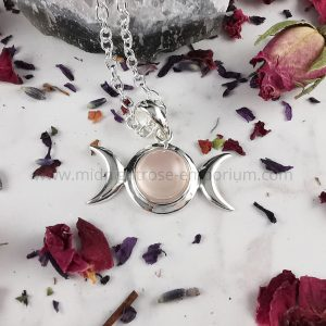 Triple Moon Rose Quartz - Sterling Silver Pendant