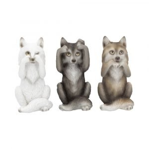 Three Wise Wolves 10cm