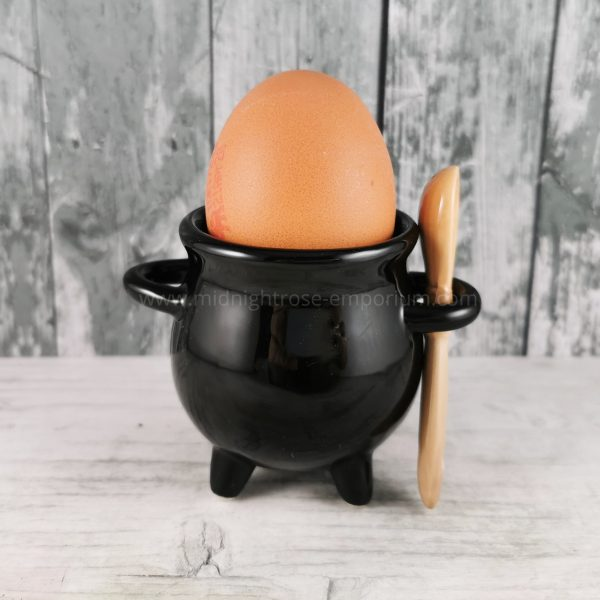 Cauldron Egg Cup with Broom Spoon - Black Magic Collection
