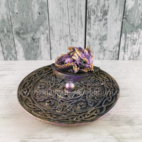 Baby Dragon Celtic Incense Holder - Purple