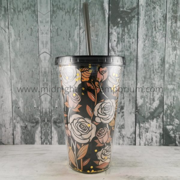 Skulls & Roses Double Walled Cup with Lid & Straw