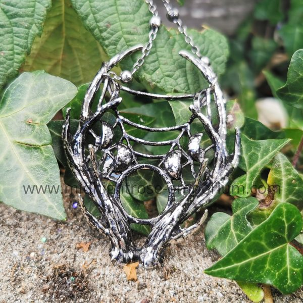 3D Antler Necklace with Crescent Moons