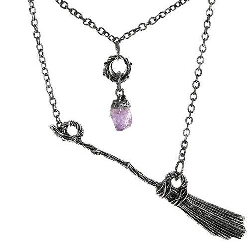 Broomstick Necklace with Amethyst