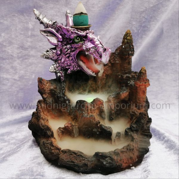 Purple Dragon Backflow Incense Burner With Light