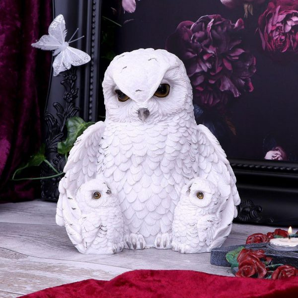 Feathered Family Snowy Owls Figurine 21.5cm