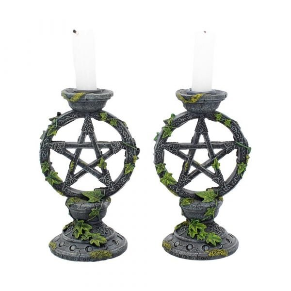 Wiccan Pentagram Candlesticks 15cm (Set of 2)