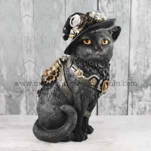 Clockwork Kitty Black Cat Steampunk Figurine 16.5cm