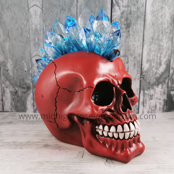 Crystal Mohawk Skull Ornament (Red)