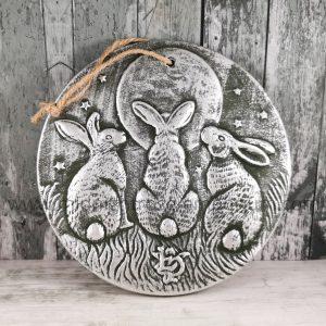Lisa Parker 'Moon Shadows' Terracotta Hare Plaque - Silver