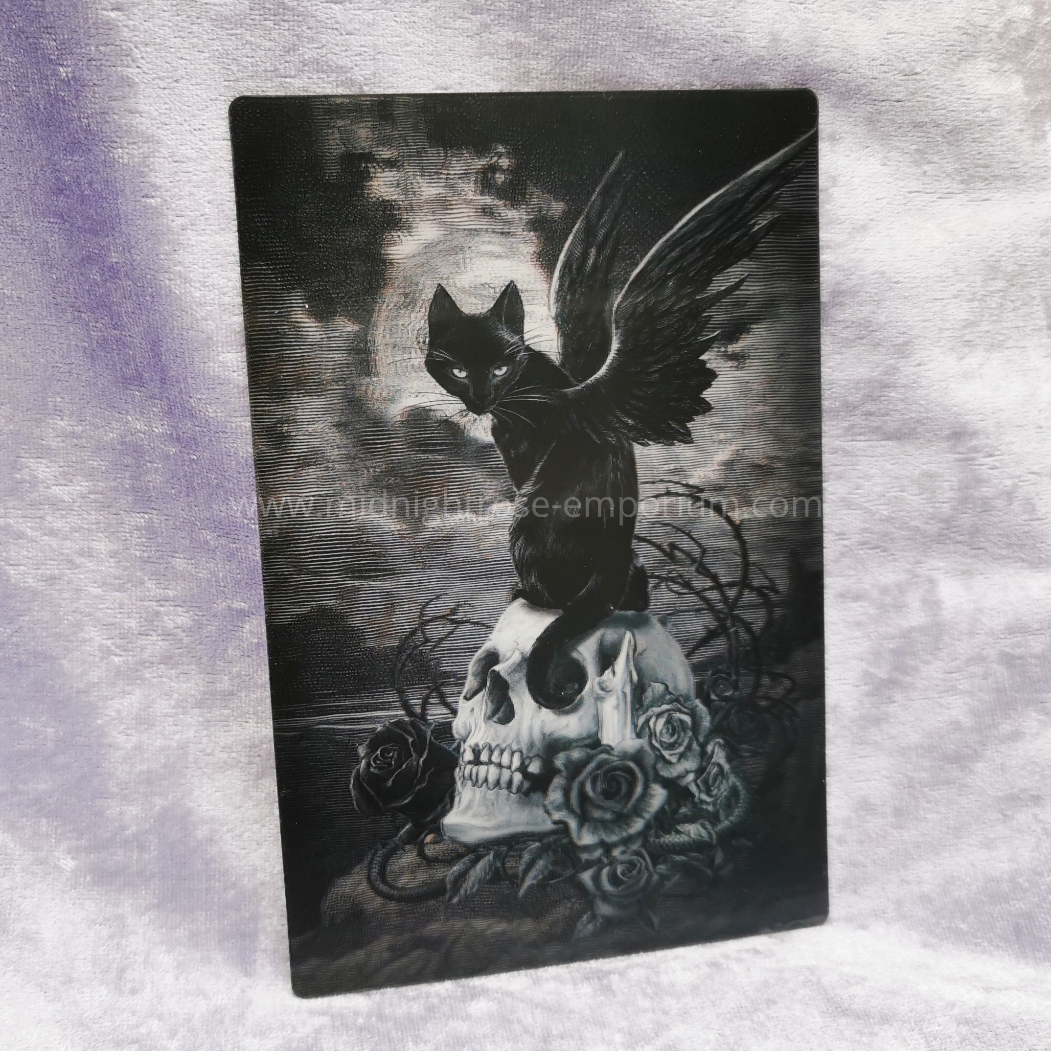'Nine Lives of Poe' Black Cat & Skull 3D Postcard