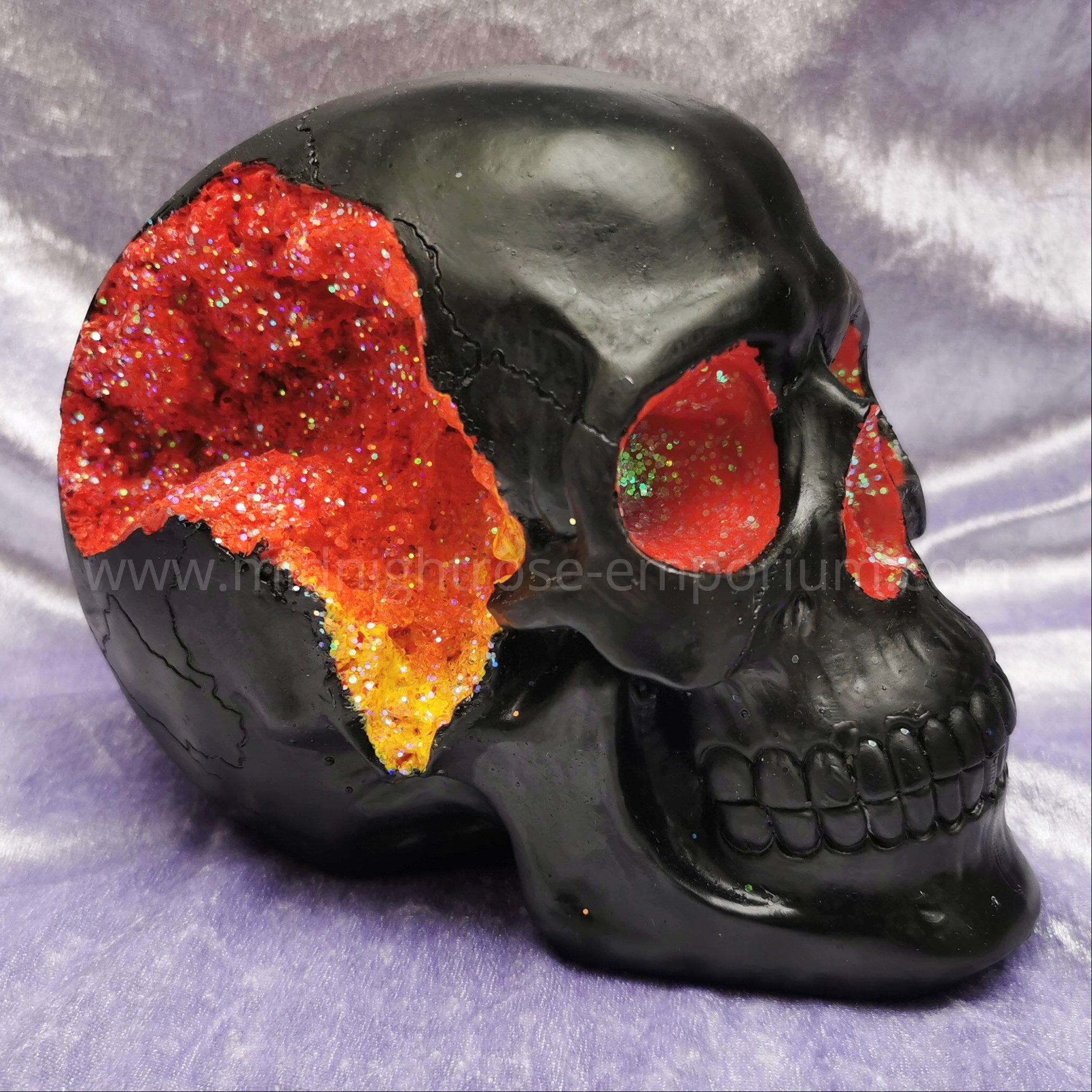 Sunset Ombre Geode Skull Ornament