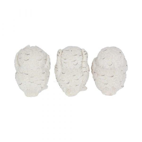 Three Wise Snowy Owls 8cm