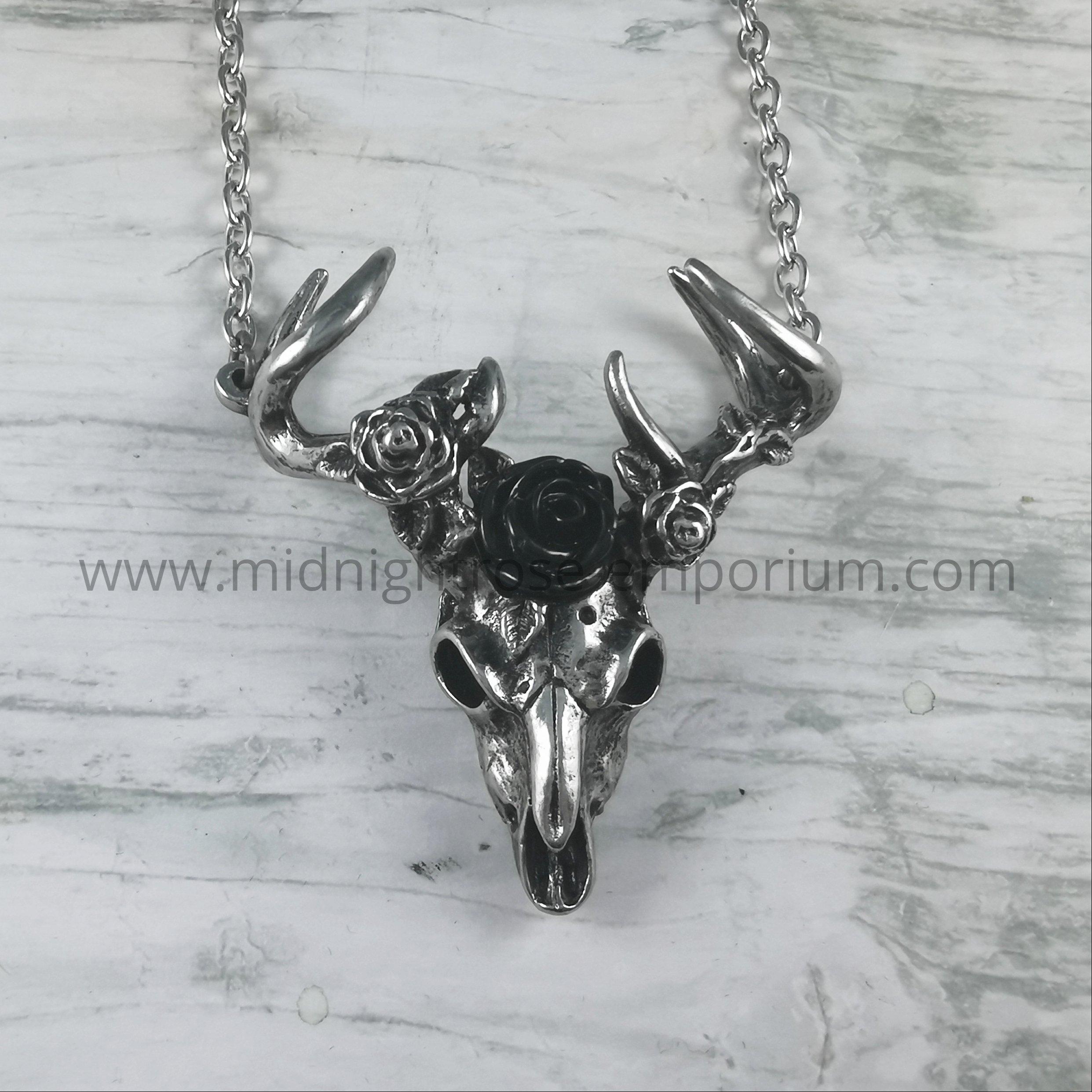White Hart, Black Rose Stag Skull Necklace