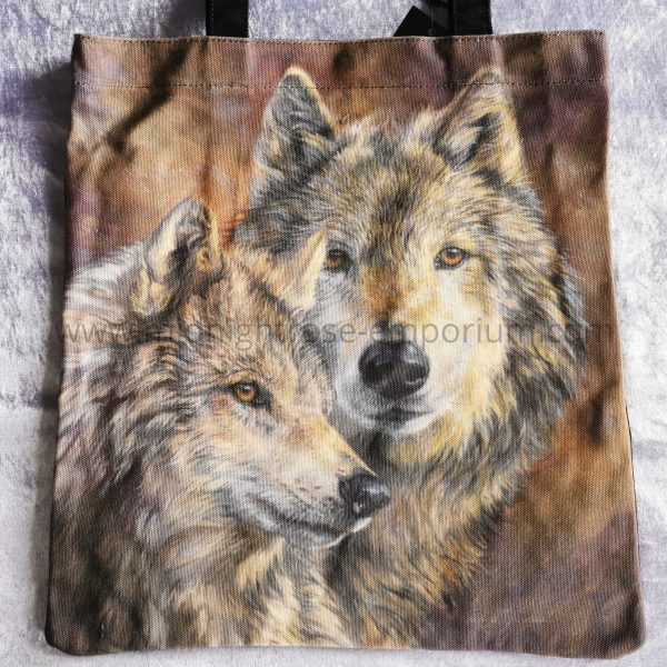 'The Bond' Grey Wolf Canvas Tote Bag