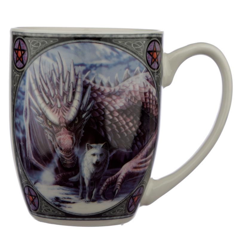 'Alliance' Fantasy Dragon & Wolf Mug