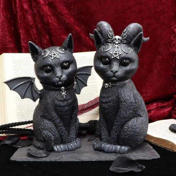 'Malpuss' & 'Pawzuph' Set of 2 Black Cat Ornaments - LARGE