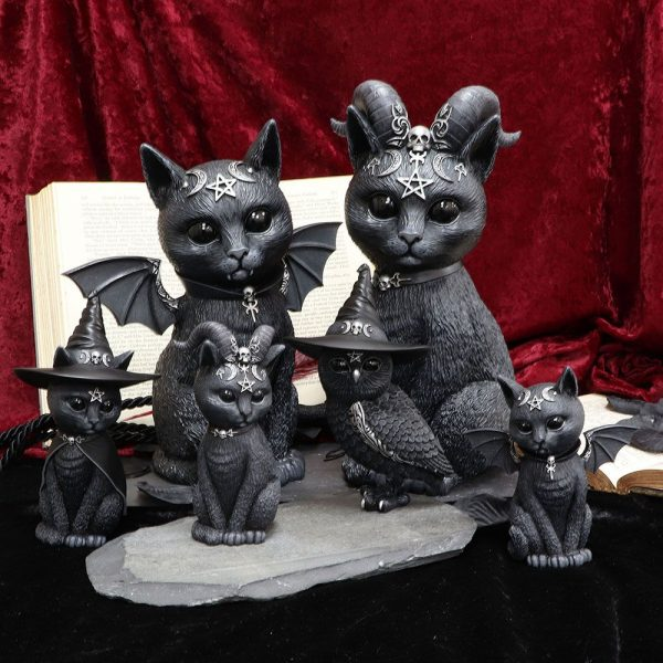 'Malpuss' & 'Pawzuph' Set of 2 Black Cat Ornaments - LARGE