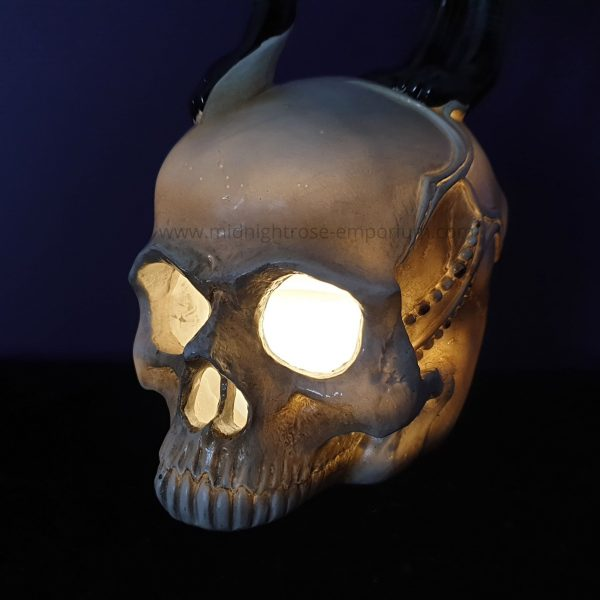 Feline Fate Light Up Cat & Skull Figurine