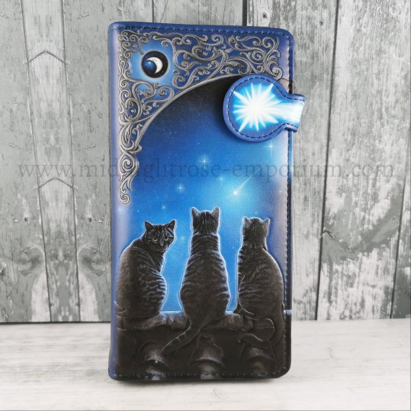 Wish Upon A Star Embossed Black Cat Purse