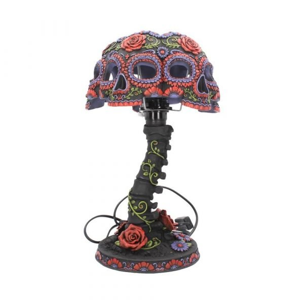 Night Blooms Skull Lamp 38cm