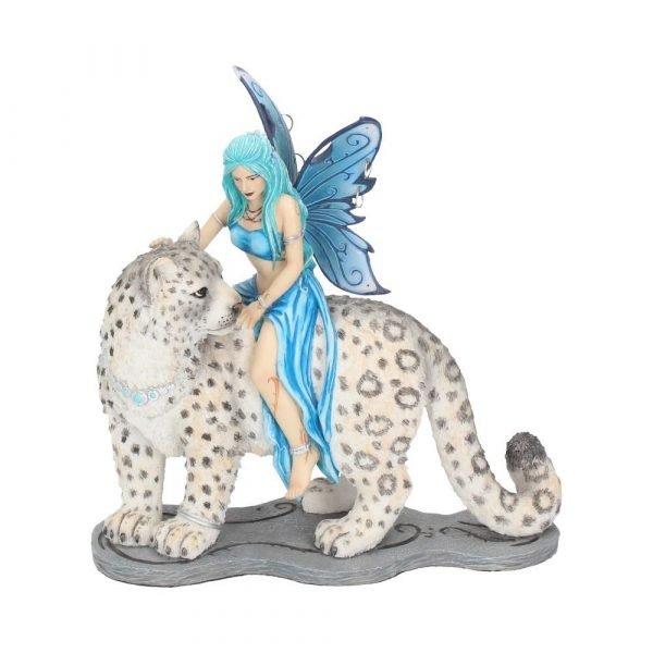 'Hima' Fairy & Snow Leopard Figurine 20cm