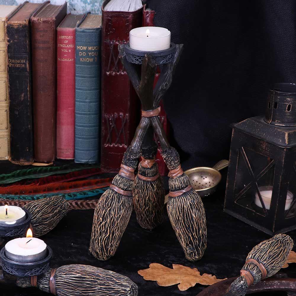 Broomstick Tea-Light Candle Holder 20.5cm