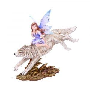 'Wolf Rider' Fairy Figurine 18cm