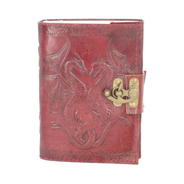 Double Dragon Embossed Leather Journal with Lock