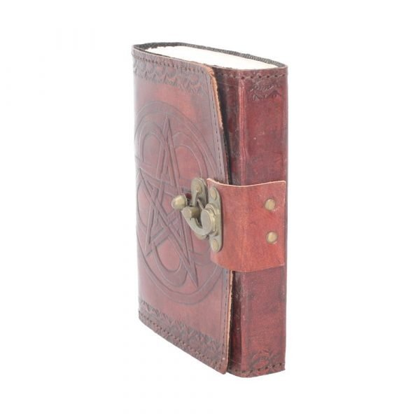 Pentagram Embossed Leather Journal with Lock