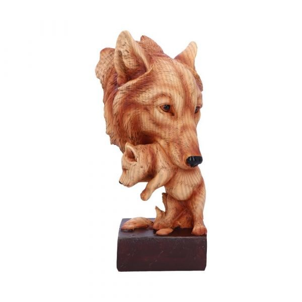 'Natural Protection' Wood Effect Wolf Bust