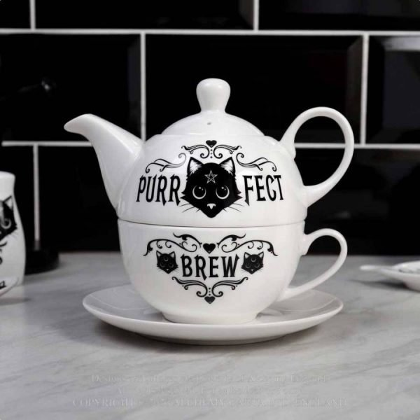 Alchemy Gothic 'Purrfect Brew' Tea Set for One