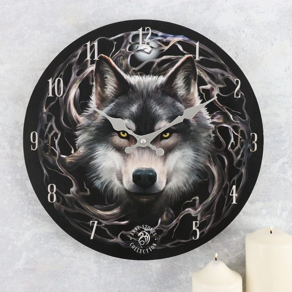 Night Forest Wolf Wall Clock