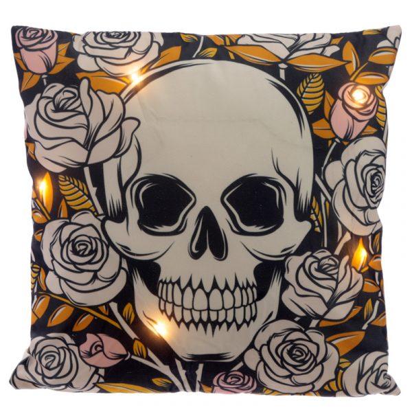 skull & roses LED cushion