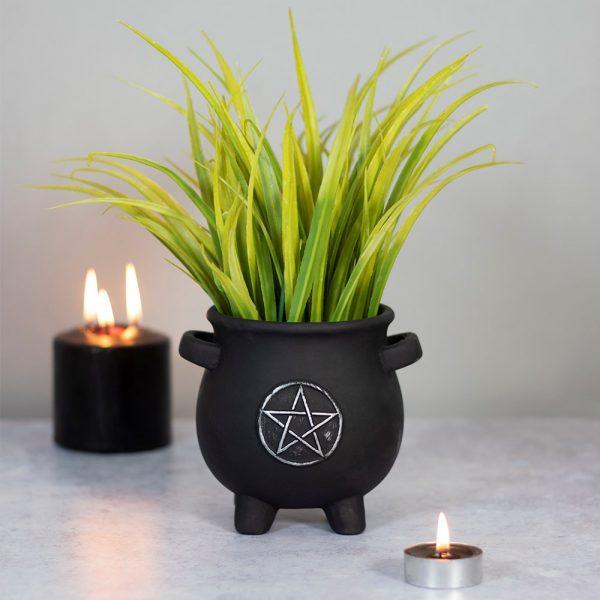 pentagram cauldron plant pot